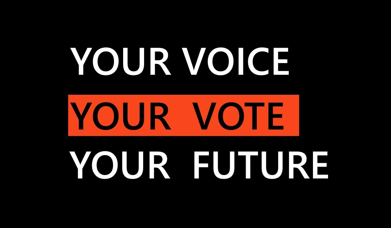 your voice, your vote, your future graphic